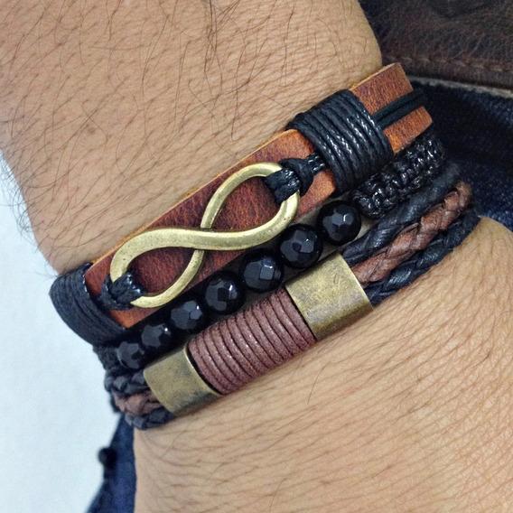 Kit Bracelete Masculino Pulseira Couro Infinito Ouro Velho