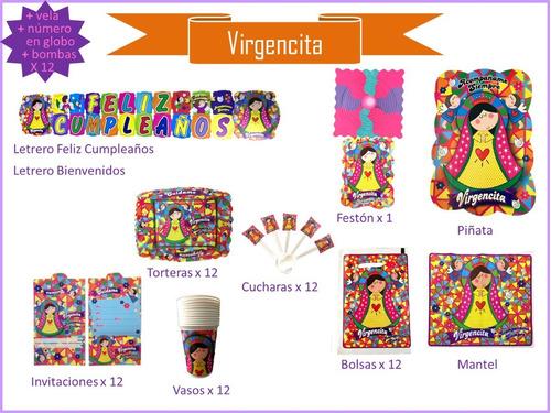 Imagen 1 de 9 de Kit De Decoración De Fiesta Virgencita, Cumpleaños, Piñata