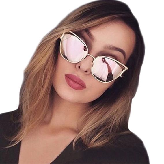 Óculos De Sol Feminino Olho De Gato Espelhado Uv400