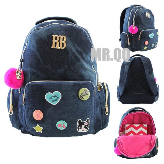 Mochila Escolar Juvenil Jeans Rebecca Bonbon Original Rb9139