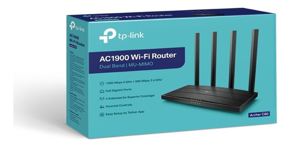Router Tp Link Archer C80 Ac1900 Wi Fi Dual Band 4 Antenas