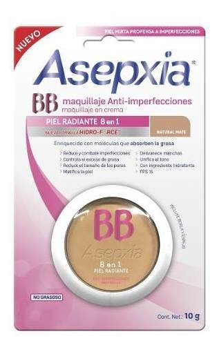 Asepxia Maquillaje En Crema Natural Mate Hidro Force 10grs