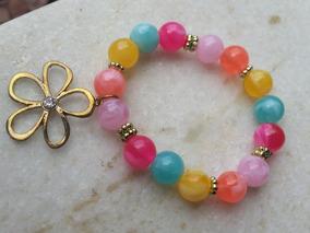 Pulseira Fashion Elástica Miçangas Coloridas + Pingente Flor