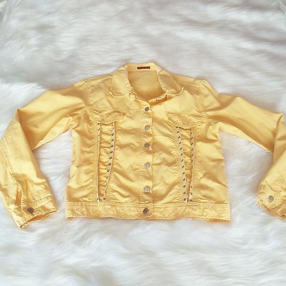 Jaqueta Jeans Amarela Unissex Vintage Retrô Inverno Antiga