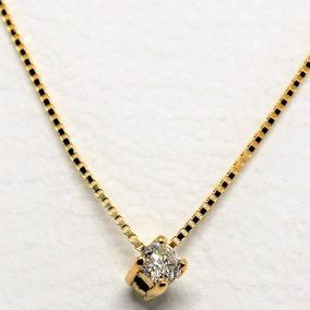 Gargantilha Ponto De Luz Diamante Ouro 18k Frete Grátis