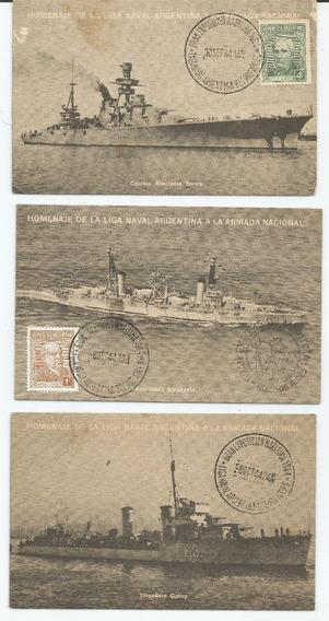 Lote 3 Postales Buques De Guerra Armada Nacional 1944