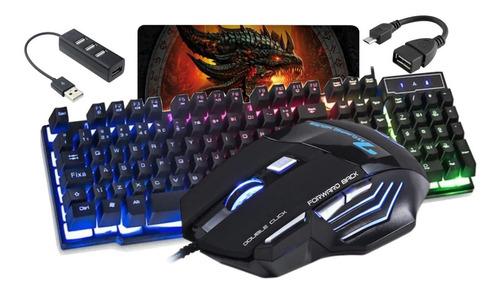 Kit Teclado Led E Mouse Gamer  Kit Cel Mobilador + Mousepad