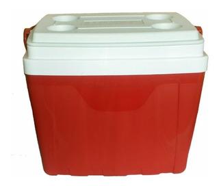 Caixa Térmica 34 Litros C/ Alça E Porta Copos Cooler Vermelh