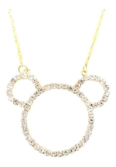 Colar Corrente E Pingente Mickey Mouse Cristal Folheado Ouro