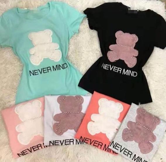 Blusa T-shirt Fem Algodao Bordado Baby Look Perolas Pelinho