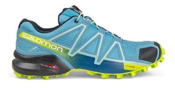 Tênis Speedcross 4 Salomon - Azul / Verde Limão