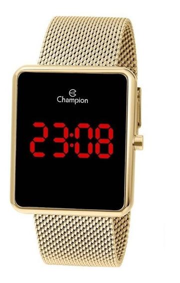 Relógio Digital Feminino Champion Dourado Quadrado Ch40080v