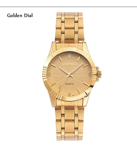 Relógio Feminino Dourado Luxo Elegante Fino A Pronta Entrega