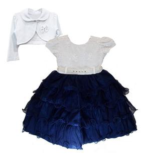 Vestido Infantil Realeza Dama De Honra Luxo Com Bolero