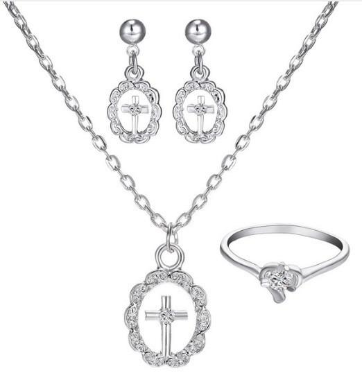 Set De Collar Y Aretes Anillo Cristales Envío Gratis Cruz