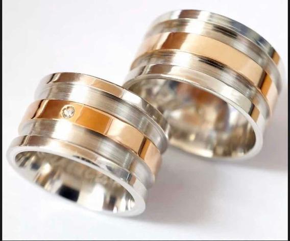 Aliança Prata E Ouro Rosé 12mm