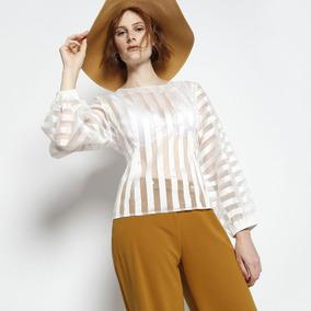 15866bba4 Blusa Camisa Transparente Listrada Tule Verão Praia