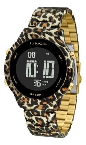 Relógio Lince Feminino Digital Onça Dourado