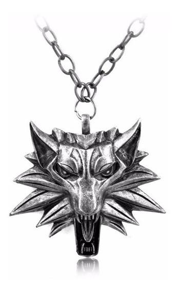 Colar Witcher 3 Medalhão Pingente Cabeça De Lobo Frete Free
