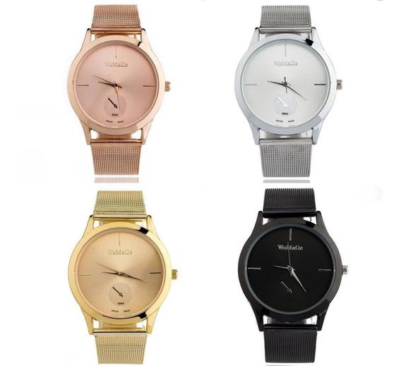 Relógio Feminino Dourado Prateado Rose Preto