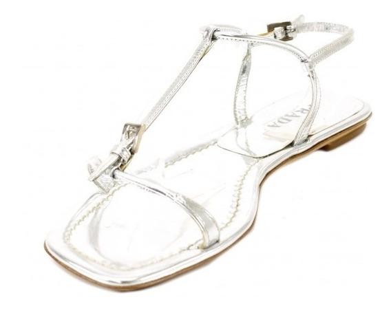Sandalias Plateadas Prada