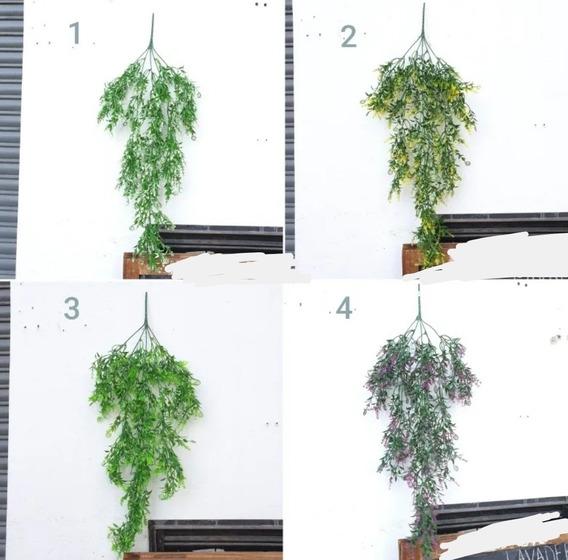 Plantas Artificiales Colgantes Largo 70 Cm Color Verde