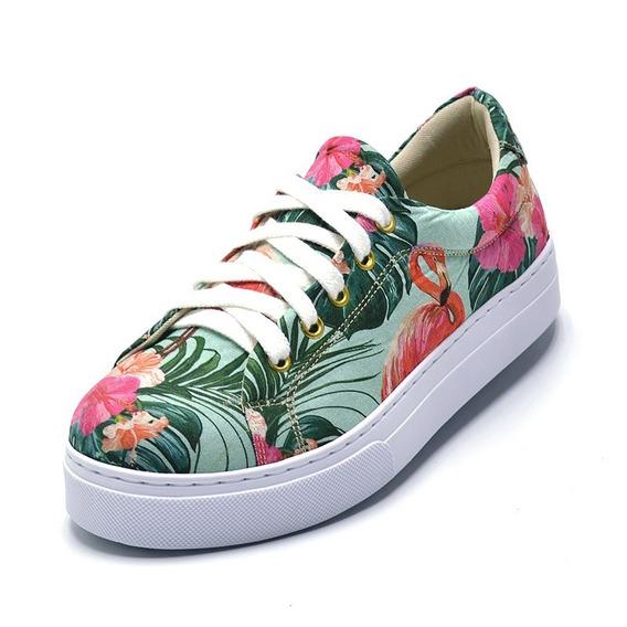 Tênis Casual Feminino Sapatenis Sapato Estampado Floridos
