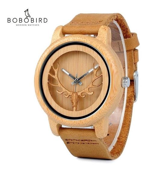 Relógio Bobo Bird De Madeira De Bambu- Chifre Cervo-original