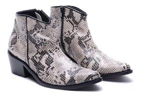 69861e72 Zapatos Mujer Charros Taco Botas Texana Reptil Heben 2019