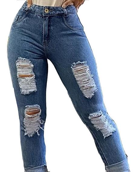 Calça Jeans Feminina Cintura Alta Hot Pants Manchada Cj003