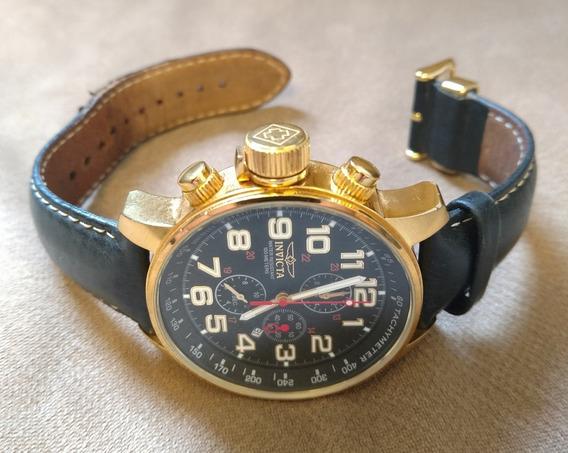 Relógio Invicta Force 3330 Banhado Ouro 18k Couro
