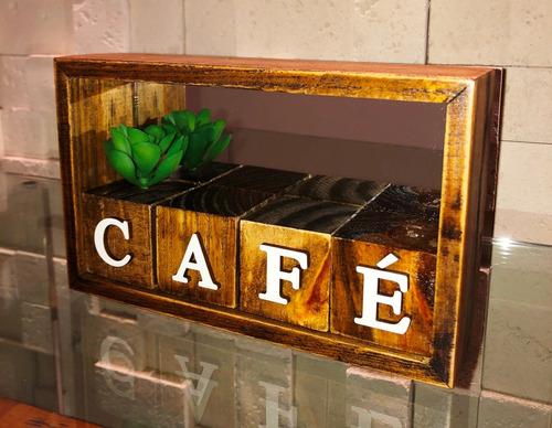 Mini Nicho E Cubos Café Letra Mdf Branco