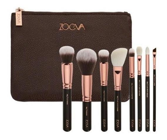 Set 8 Brochas Zoeva Portacosmetico Pinceles Maquillaje
