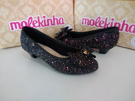 Sapato Infantil Com Salto Molekinha 2166118 Maxi Glitter