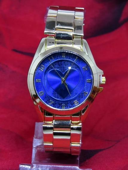 Relógio Feminino Dourado Coração Azul Original + Caixa