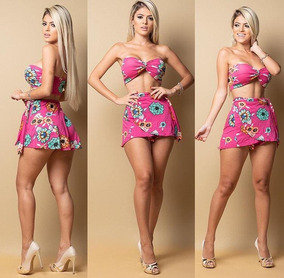 Conjunto Batedeira Feminino Top Cropped Nó Short Carnaval