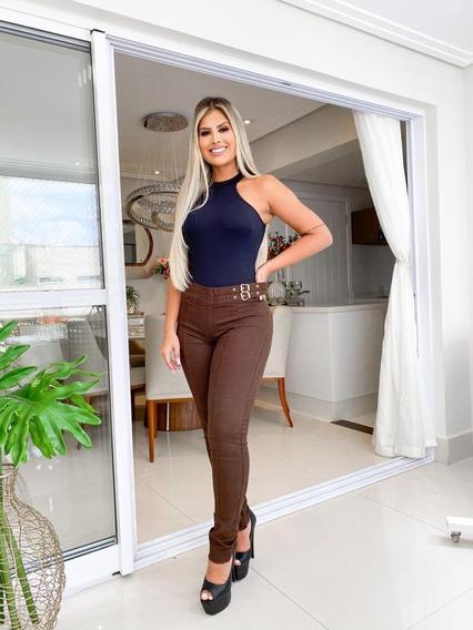 Calça Jeans Premium Cintura Alta Lycra Lançamento Feminina