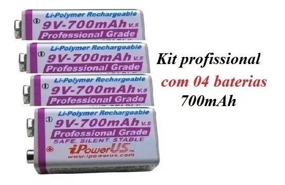 Bateria 9v Recarregável De 700mah Ipower - Kit C/04 Baterias