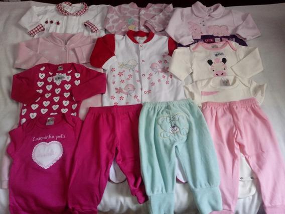 Lote 12 Peças Roupas Bebê Meninas Novas E Usadas 3-6 Meses
