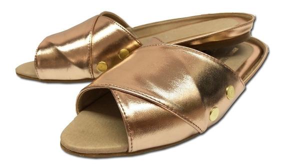 Sandalias De Mujer Destalonadas Zuri Oro Rosado