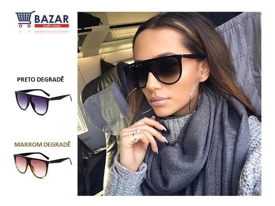 Óculos De Sol Feminino Máscara Degradê Verão Elegante Clássico Tradicional Moderno Barato Meio Redondo Pronta Entrega