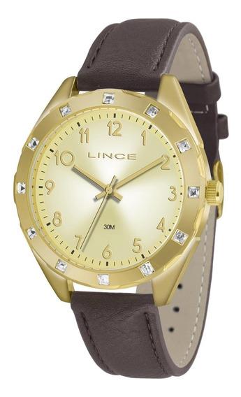 Relógio Feminino Lince Analógico Lrc4317l Dourado C/ Cristal