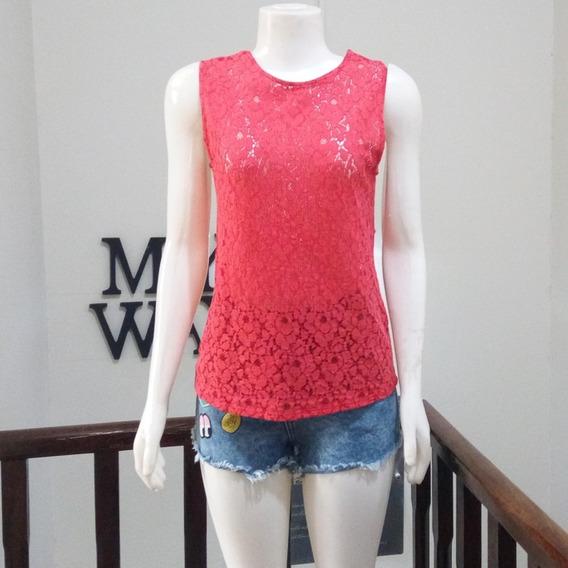 Blusa De Renda Vermelha Zara Tam P