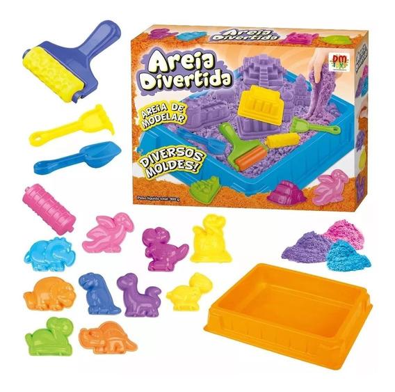 Areia Divertida De Modelar 900 G + Acessórios Dm Toys