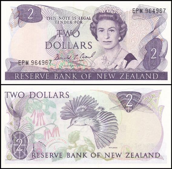 New Zealand Nova Zelândia P-170c Fe 2 Dollars 1981-92 C O L*