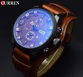 Relógio Masculino Pulseira Couro Curren Quartz Original 42mm