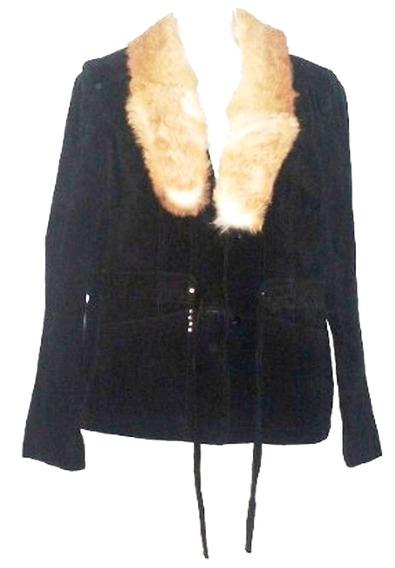 Abrigo Dama De Piel Cerdo Cuello Pelo Conejo Talla M $3,590a