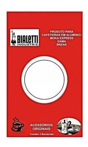 Imagem 1 de 2 de Kit 3 Borrachas Bialetti + Filtro Cafeteira 3 Xícaras