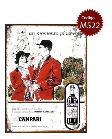 Carteles De Chapa Vintage Aperitivo Campari No Es Vinilo