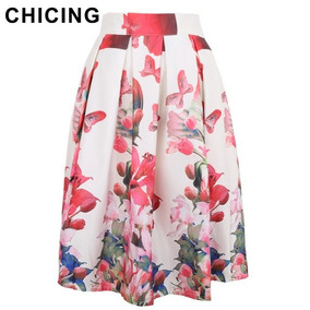 Falda Con Vuelo Estampada Flores Moda